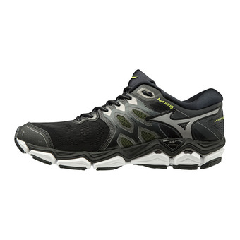 Mizuno WAVE HORIZON 3 - Running Shoes - Men's - black/met shadow/safety yellow