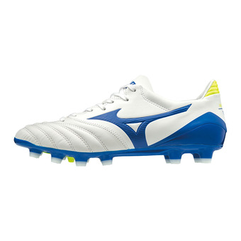 Botas de tacos MORELIA NEO KL II white/wave cup blue/safety yellow
