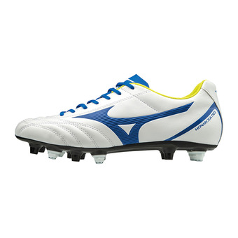 Mizuno MONARCIDA NEO SELECT MIX - Botas de rugby white/mazzarine blue/safety yellow