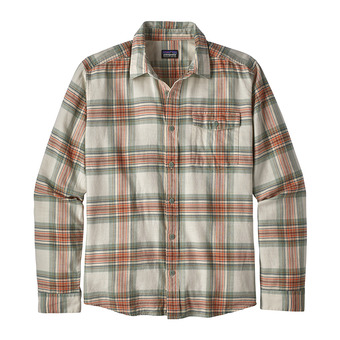 Patagonia LW FJORD FLANNEL - Camisa hombre white/celadon