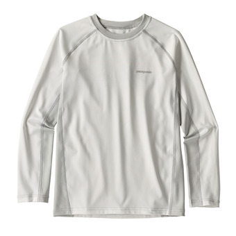 Boys' L/S SW Rashguard Junior White w/Tailored Grey