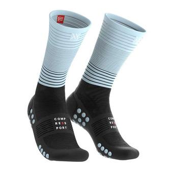 Mid Compression Socks Unisexe BLACK/ICE BLUE