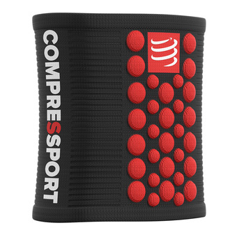 Compressport SWEAT 3D.DOTS - Polsini in spugna nero/rosso