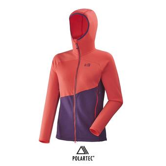 Polaire zippée à capuche femme ELEVATION POWER black berry/poppy red