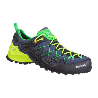 Salewa WILDFIRE EDGE - Zapatillas de aproximación hombre ombre blue/fluo yellow