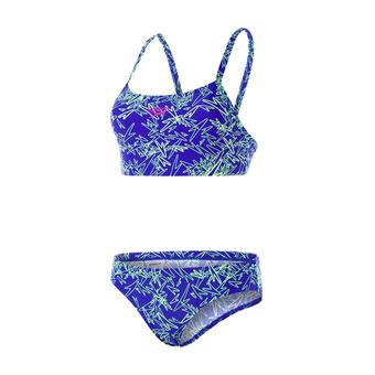 Speedo BOOM ALLOVER - Maillot de bain 2 pièces Femme blue/yellow