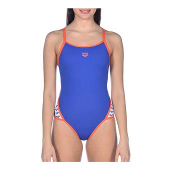 Arena TEAM STRIPE SUPER FLY - 1-Piece Swimsuit - Women's - neon blue/nectarine