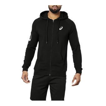 BIG ASICS FZ HOODIE PERFORMANCE BLACK/BRILLIANT WHITE Homme