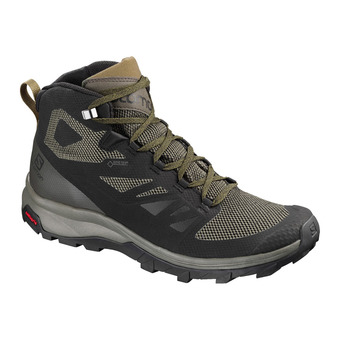 Salomon OUTLINE MID GTX - Hiking Shoes - Men's - black/beluga/capers