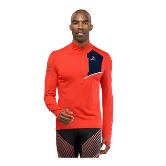 Salomon FAST WING - Fleece - Men's - fiery red/night sky