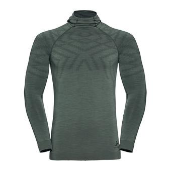 T-shirt ML capuche NATURAL KINSHIP Homme agave green melange