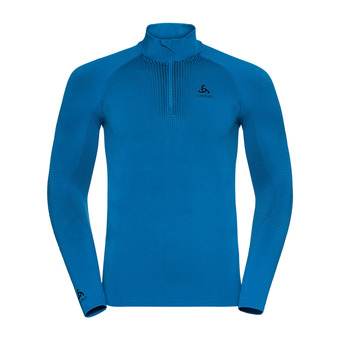T-shirt ML 1/2 zip PERFORMANCE WARM Homme directoire blue - black