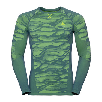 Odlo BLACKCOMB - Camiseta térmica hombre bering sea/safety yellow neon/safety yellow neon