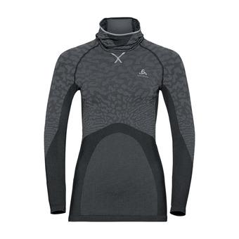Odlo BLACKCOMB - Camiseta térmica mujer black/odlo steel grey/silver