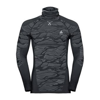 T-shirt ML Capuche BLACKCOMB Homme black - odlo steel grey - silver