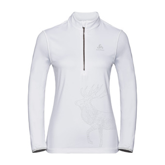 Pull 1/2 zip TRAFOI Femme white - placed print FW19