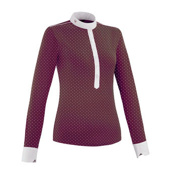 Horse Pilot AEROLIGHT - Show Polo Shirt - Women's - burgundy dot