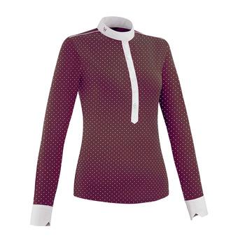Horse Pilot AEROLIGHT - Show Polo Shirt - Women's - burgundy dot