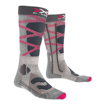 X-Socks CONTROL 4.0 - Chaussettes ski Femme gris/rouge