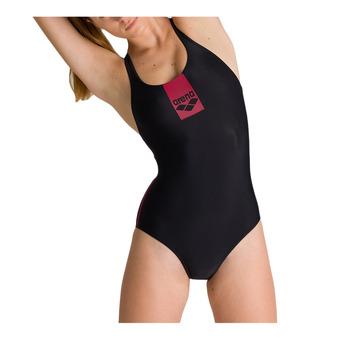W BASICS SWIM PRO BACK ONE PIECE Femme BLACK-SHARK-FLUO RED