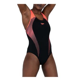Speedo PLACEMENT LANEBACK - 1-Piece Swimsuit - Women's - black/red