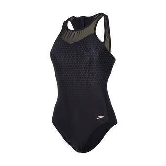 Speedo MESH PANEL - 1-Piece Swimsuit - Women's - black/grey