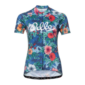 Stand-up collar s/s full zip ELEMENT Femme diving navy - Flower print