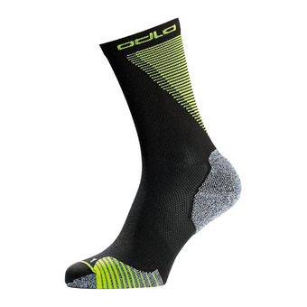 Odlo CREW CERAMICOOL - Chaussettes black/safety yellow