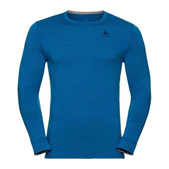 T-shirt ML NATURAL 100% MERINO Homme mykonos blue - grey melange