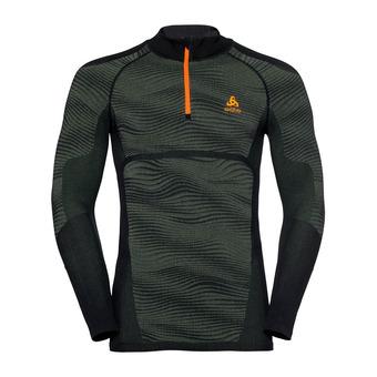 Odlo BLACKCOMB - Camiseta térmica hombre climbing ivy/black/orange clown fish