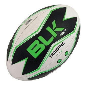 Ballon de rugby TECK V blanc/noir/vert T.5