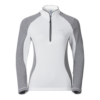 Camiseta mujer PACT white/grey melange