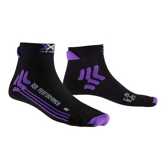 Calcetines de running mujer RUN PERFORMANCE black/purple