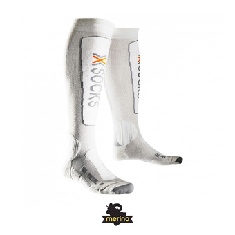 X-Socks SKI METAL - Calcetines white/grey