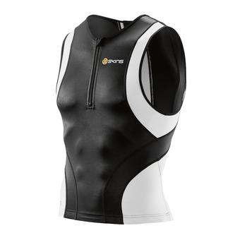 Camiseta de triatlón sin mangas hombre TRI400 black/white