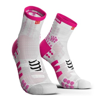 Compressport PRORACING V3 RUN - Chaussettes Femme blanc/rose