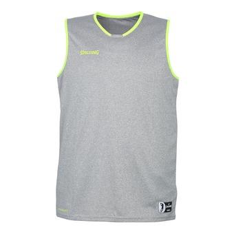 Camiseta hombre MOVE gris oscuro jaspeado/amarillo flúor