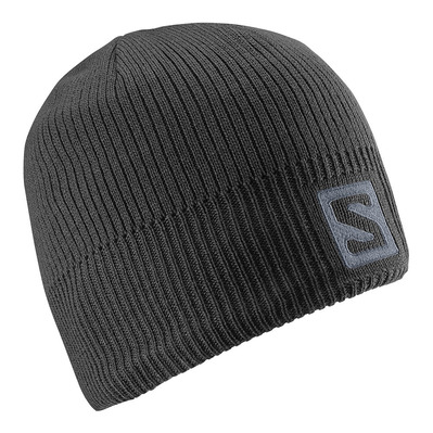 SALOMON - LOGO - Beanie - black/darkcloud