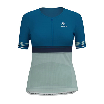 ODLO - ZEROWEIGHT CERAMICOOL - Camiseta mujer mykonos blue/surf spray/diving navy