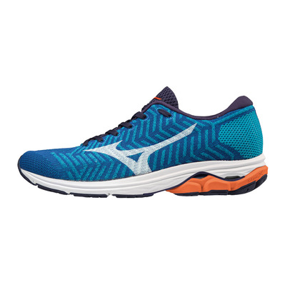 MIZUNO - WAVEKNIT R2 - Chaussures running Homme nautical blue/white/red orange