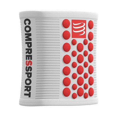 COMPRESSPORT - SWEATBANDS 3D.DOTS - Muñequeras white/red