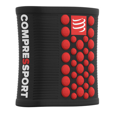 COMPRESSPORT - 3D.DOTS - Polsini in spugna black/red