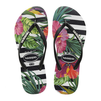 HAVAIANAS - SLIM TROPICAL - Chanclas mujer floral black/black/imperial palace