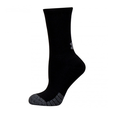 UNDER ARMOUR - HEATGEAR CREW - Calcetines x3 black/black/steel