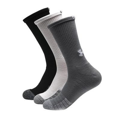 UNDER ARMOUR - HEATGEAR CREW - Calcetines x3 steel/white/white