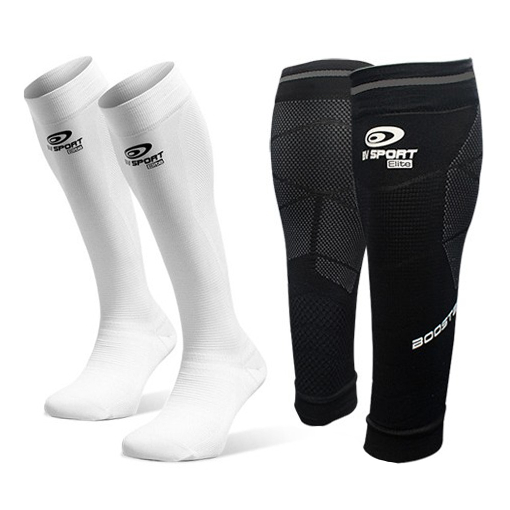 BV SPORT - Bv Sport PACK PERFORMANCE ELITE - Calf Sleeves - black + Socks - white