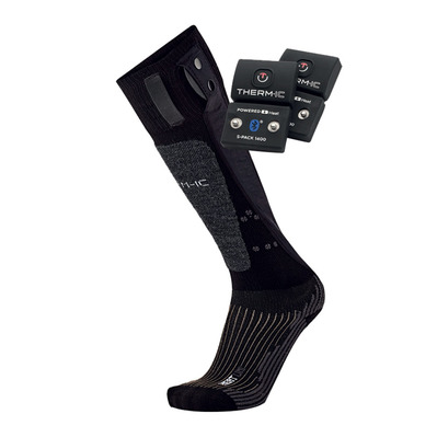 THERM-IC - POWERSOCKS HEAT UNI - Chaussettes chauffantes black + batteries S-1400B