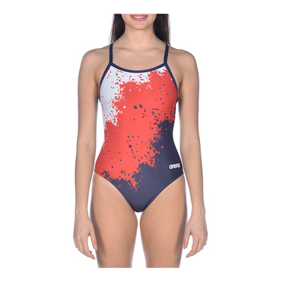 ARENA - W SPRAYPAINT LIGHT DROP BACK ONE PIECE Femme RED-WHITE-NAVY