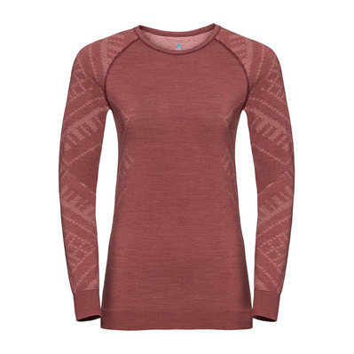ODLO - T-shirt ML NATURAL KINSHIP Femme roan rouge melange