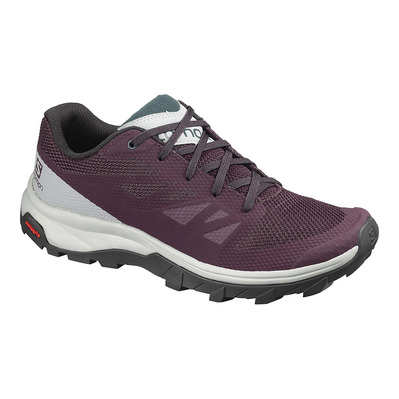 SALOMON - OUTLINE - Zapatillas de senderismo mujer winetastin/quarry/green